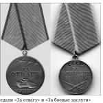 Медали «За отвагу» и «За боевые заслуги»